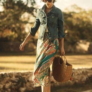 Anthropologie Silk Bette Wrap Turquoise Skirt